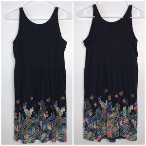 Old Navy Tropical Print Dress Black XL (14) Plus